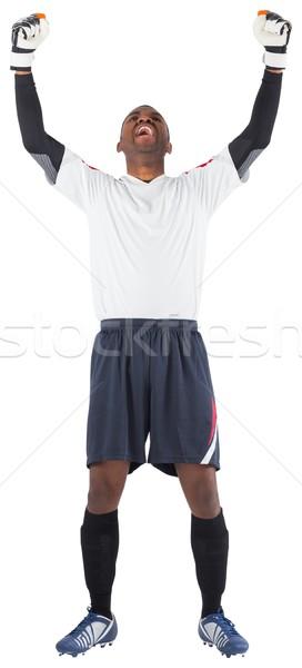 Foto stock: Animado · goleiro · branco · futebol · engrenagem
