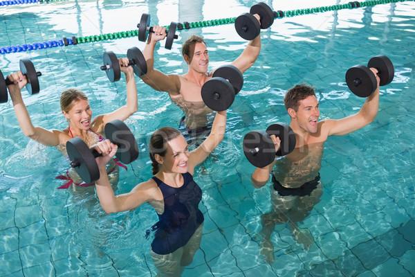Gelukkig fitness klasse aerobics schuim Stockfoto © wavebreak_media