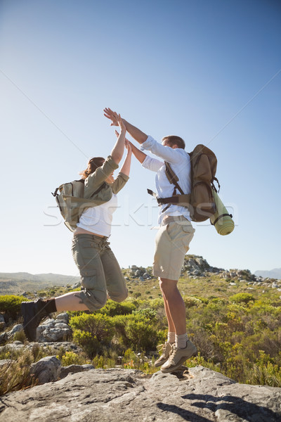 Hiking couple jumping and cheering on rocky terrain Stock photo © wavebreak_media