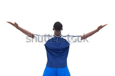 Boldog futballista kék ünnepel fehér sport Stock fotó © wavebreak_media