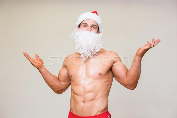 Portret shirtless macho man namaak Stockfoto © wavebreak_media