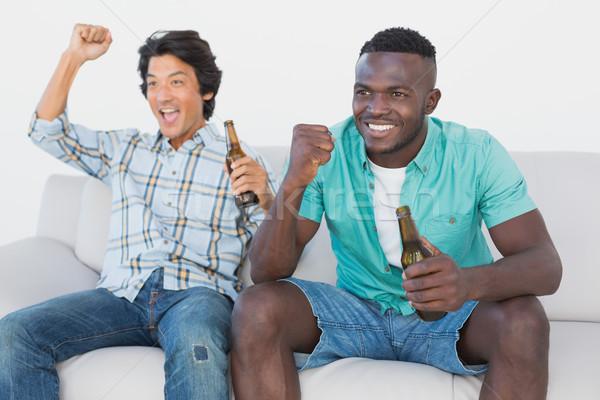 Futball szurkolók éljenez néz tv kettő Stock fotó © wavebreak_media