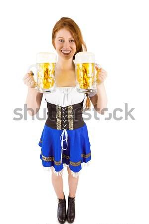 Oktoberfest kız bira beyaz mavi Stok fotoğraf © wavebreak_media