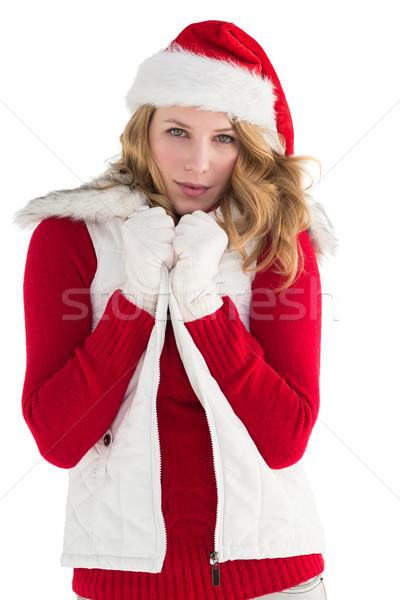 Cute mujer sonriente elegante ropa de abrigo blanco belleza Foto stock © wavebreak_media