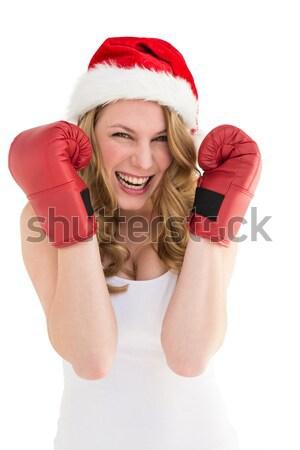 ünnepi szőke nő boxkesztyűk fehér szépség portré Stock fotó © wavebreak_media