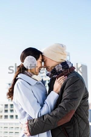 счастливым пару теплая одежда стекла окна женщину Сток-фото © wavebreak_media