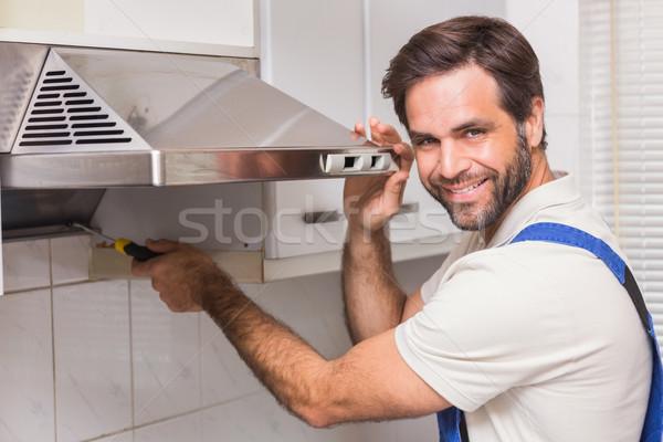 мастер на все руки печи кухне человека счастливым Сток-фото © wavebreak_media