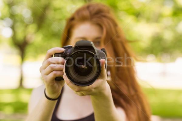 女性 カメラマン 公園 技術 芝生 ストックフォト © wavebreak_media