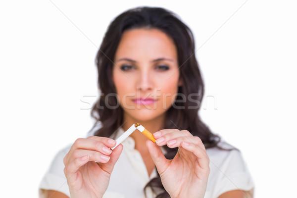 довольно брюнетка сигарету белый смерти женщины Сток-фото © wavebreak_media