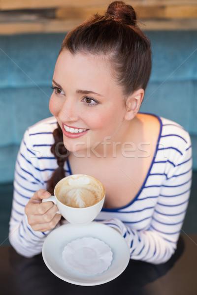 Fiatal nő cappucchino kávézó kávé tinédzser női Stock fotó © wavebreak_media