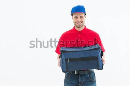 Pizza halten Tasche Porträt weiß Stock foto © wavebreak_media