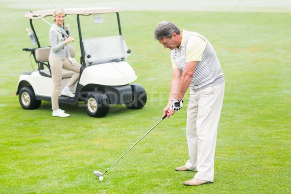 Golfer af partner achter mistig dag Stockfoto © wavebreak_media