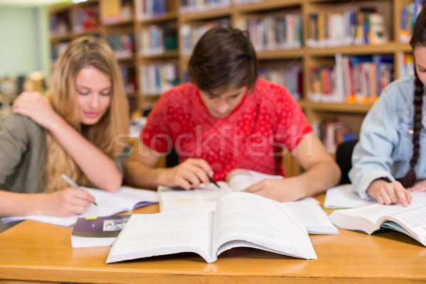 Kolegium studentów praca domowa biblioteki grupy dziewczyna Zdjęcia stock © wavebreak_media