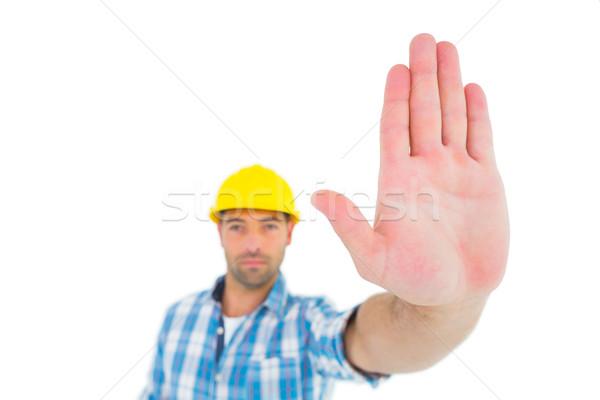 Confident manual worker gesturing stop sign Stock photo © wavebreak_media