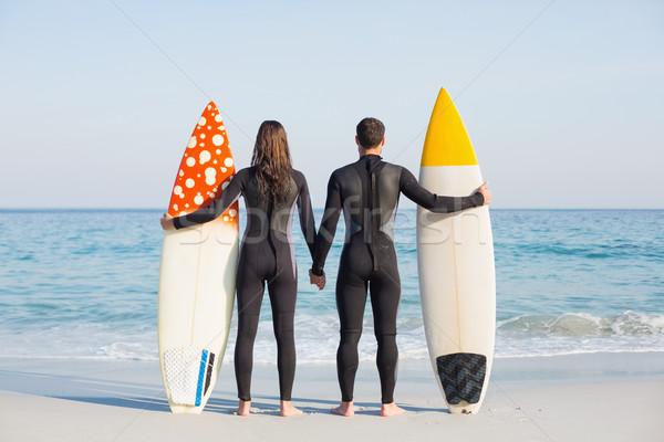 幸せ カップル サーフボード ビーチ 愛 ストックフォト © wavebreak_media