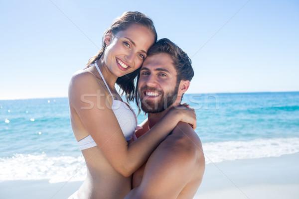 красивый мужчина подруга пляж женщину счастливым Сток-фото © wavebreak_media