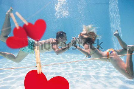 Foto stock: Grupo · amigos · jogar · voleibol · praia · homem