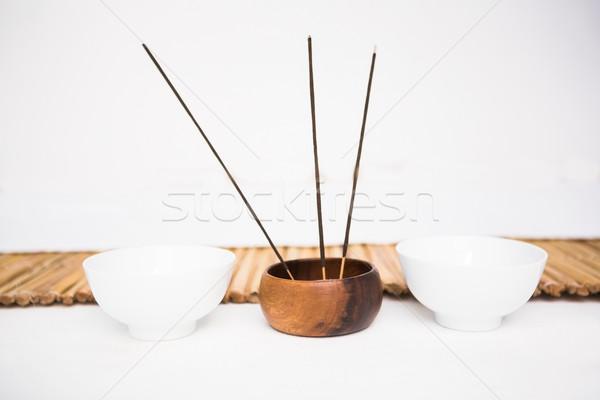 Tömjén égő gyertyák bambusz füst fürdő Stock fotó © wavebreak_media