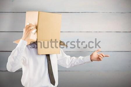 Anonim üzletember keresztbe tett kar szürke doboz póló Stock fotó © wavebreak_media
