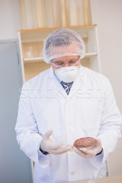 Scientist examining beefsteak in petri dish  Stock photo © wavebreak_media