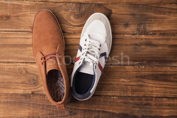 Lezser cipők fa asztal asztal asztal stílus Stock fotó © wavebreak_media