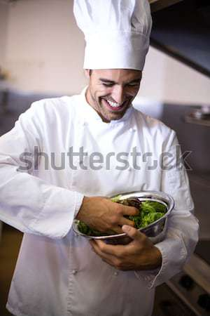 Portrait of chef garnishing meal on counter in commercial kitchen Stock photo © wavebreak_media