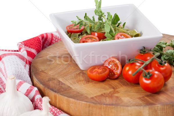 Spinazie pasta tomaten knoflook servet doek Stockfoto © wavebreak_media