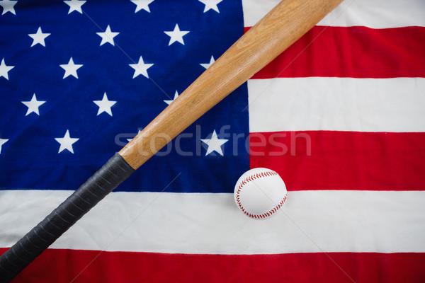 野球 野球用バット アメリカンフラグ クローズアップ スポーツ 青 ストックフォト © wavebreak_media