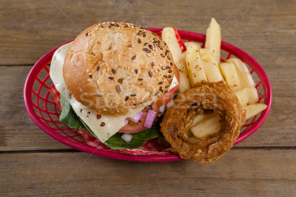 Stock photo: Hamburger and french fries in basket