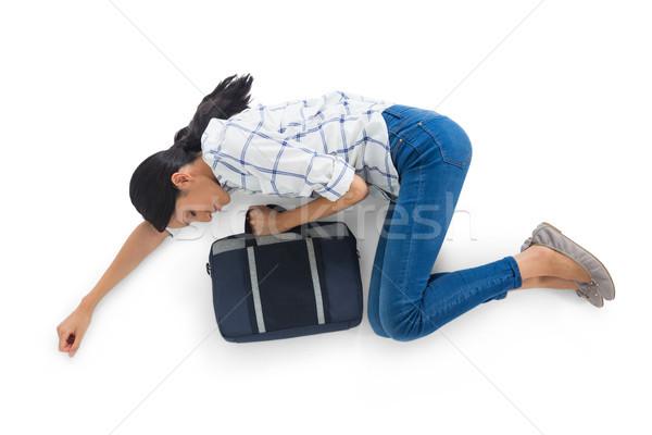 Nő fehér eszméletlen telefon női életstílus Stock fotó © wavebreak_media