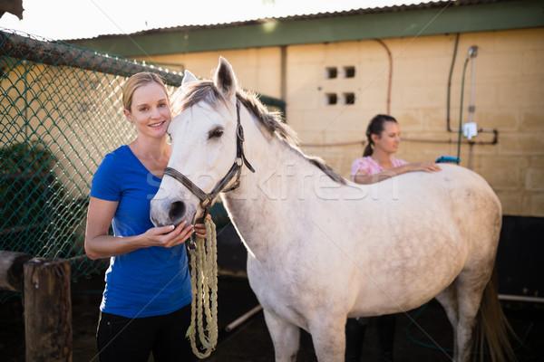 Jonge vrienden permanente paard schuur vrouwelijke Stockfoto © wavebreak_media