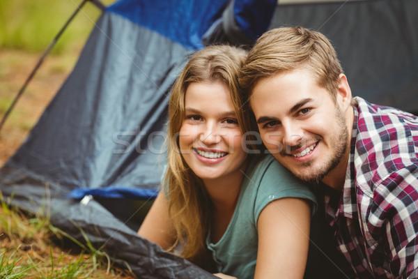 Retrato jovem feliz casal tenda natureza Foto stock © wavebreak_media