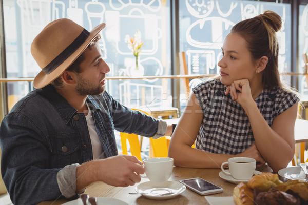 çift konuşma kafe tablo iş Stok fotoğraf © wavebreak_media