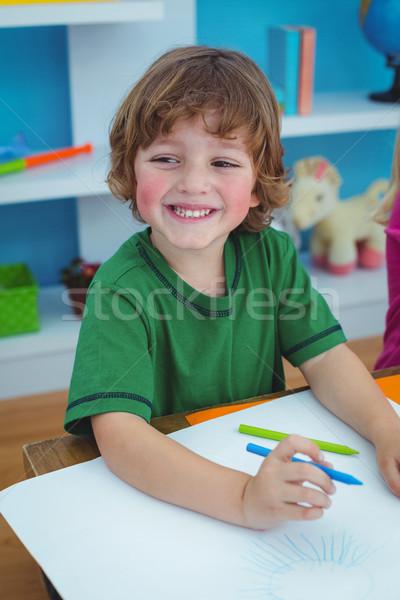 Tekening papier bureau gelukkig vrienden Stockfoto © wavebreak_media