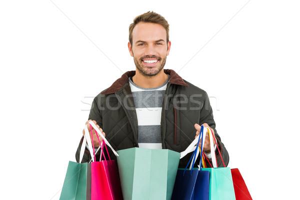 ストックフォト: 若い男 · ショッピングバッグ · 白 · 男 · ファッション · ショッピング