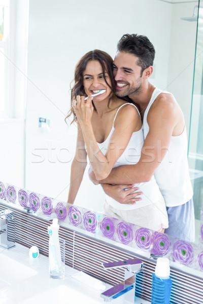 Yansıma eş koca banyo Stok fotoğraf © wavebreak_media