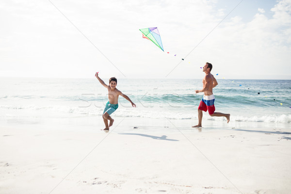 Father and son playing with kite  Stock photo © wavebreak_media