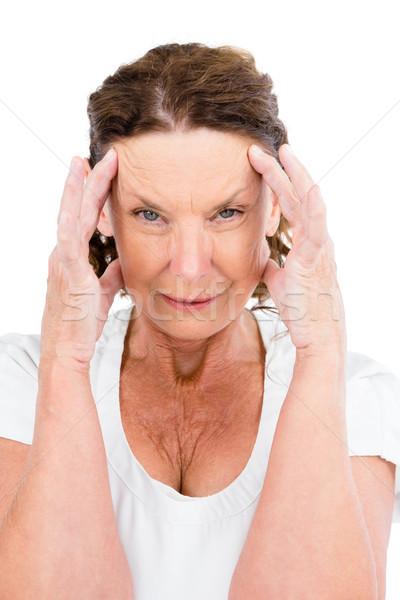 Portre olgun kadın kafa eller beyaz adam Stok fotoğraf © wavebreak_media