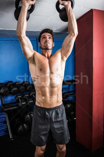 シャツを着ていない 選手 ジム 立って 男 ストックフォト © wavebreak_media