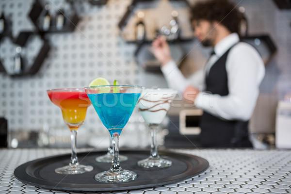 Różny koktajle taca bar Licznik Zdjęcia stock © wavebreak_media