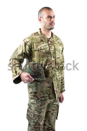 Asker ayakta kask beyaz adam eğlence Stok fotoğraf © wavebreak_media