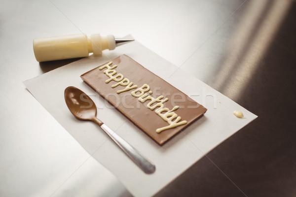 Boldog születésnapot írott csokoládé fogkő konyha üzlet Stock fotó © wavebreak_media