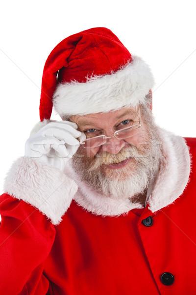 Święty mikołaj patrząc okulary portret szczęśliwy biały Zdjęcia stock © wavebreak_media
