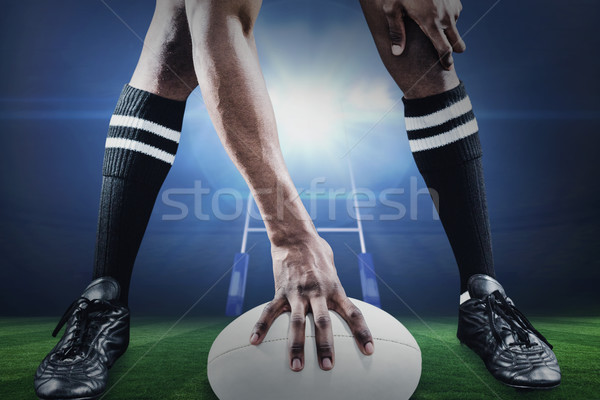 Composite image of low section of athlete playing rugby Stock photo © wavebreak_media
