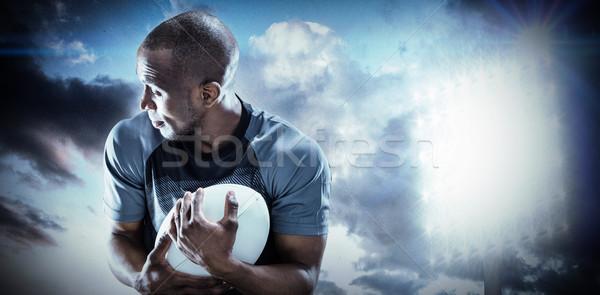 összetett kép rögbi játékos másfelé néz labda Stock fotó © wavebreak_media