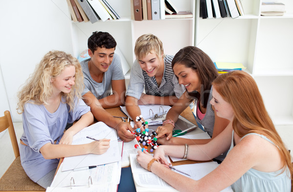 Teenagers studying Science in a library Stock photo © wavebreak_media