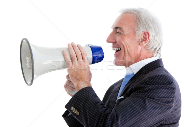 Businessman giving instructions with a megaphone Stock photo © wavebreak_media