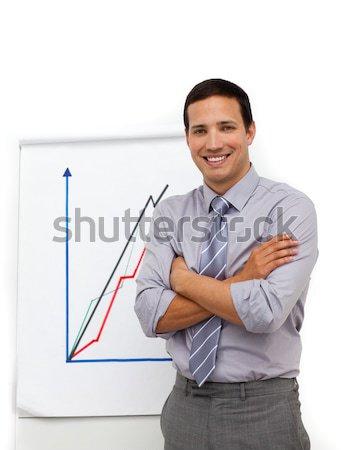 Jóképű üzletember összehajtva karok izolált fehér Stock fotó © wavebreak_media