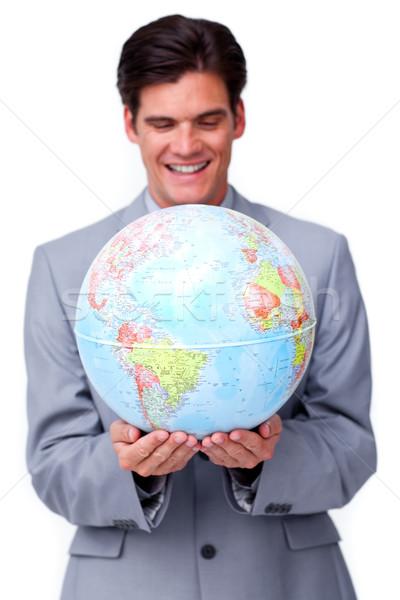 Tolakodó üzletember mosolyog globális üzlet iroda mosoly Stock fotó © wavebreak_media