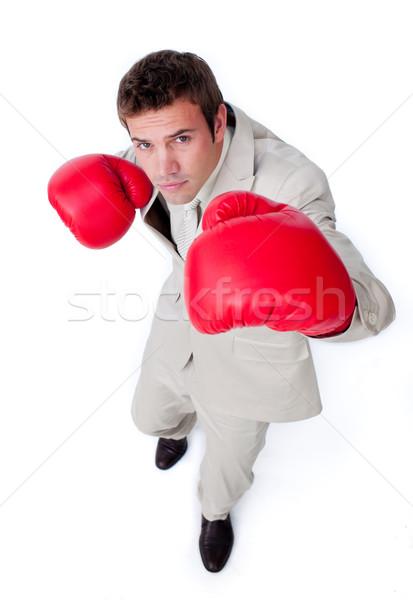 Charyzmatyczny biznesmen konkurencja odizolowany biały strony Zdjęcia stock © wavebreak_media